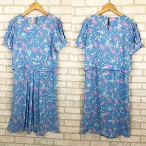 Vintage 1980s J.B. Too Floral Midi Dress Size 14
